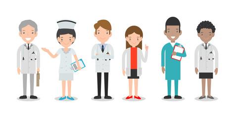 set of doctor,nurses,medicine staff in flat style isolated on white background. Hospital medical staff team doctors nurses surgeon, Group of doctors and nurses and medical staff Vector illustration.