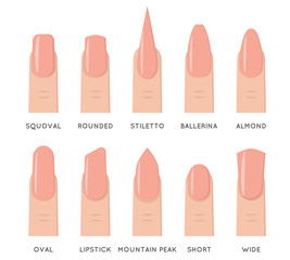 Natural fashion trend female nail manicure shape forms isolated icons set flat design vector illustration