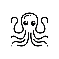 Black solid icon for octopus