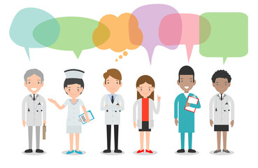 set of doctor,nurses,medicine staff in flat style with speech bubbles, Group of doctors and nurses and medical staff with speech bubbles isolated on white background Vector illustration