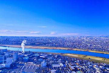 東京都江戸川区・千葉県市川市の街並みと工場