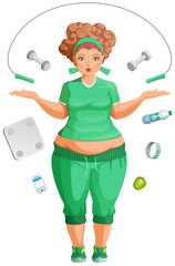 Fat woman is going to lose weight. Fitness life accessories