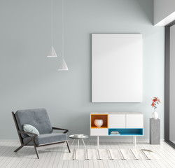 Mock up poster frame in Scandinavian style hipster interior. Minimalist modern room with armchair. 3D illustration.