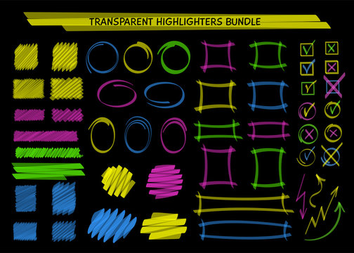 Transparent highlight marker frames and scribble vector illustration. Collection of highlight classified boxes, felt marker frames, blob brush sketchy checkmarks for social media decoration drawings