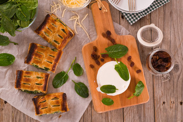 Pie with spinach and ricotta cheese.