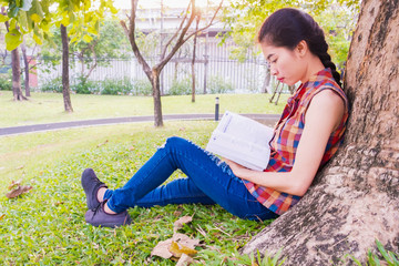 Asian women sitting reading under tree at public park relax and intend To study knowledge