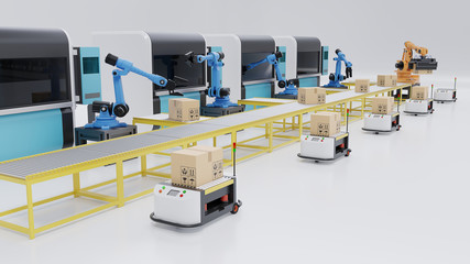 Factory Automation with AGVs, 3D printers and robotic arm,3D rendering