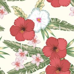 Hibiscus plumeria green leaves seamless