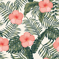 Tropical leaves and hibiscus abstract colors seamless white background