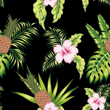 Tropical botanical seamless pattern exotic design black background