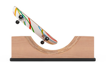 Modern Skateboard with Wooden Halfpipe Ramp. 3d Rendering