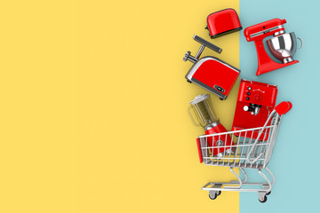Many Kitchen Appliance Falling in Shopping Cart. 3d Rendering