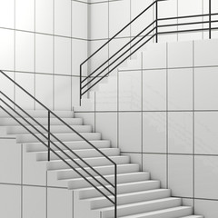 Details of Railing and Stairs of a Modern Building. 3d Rendering
