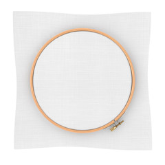 Wooden Hoop for cross stitch. A Tambour Frame for embroidery and Canvas with Free Space for Your Design. 3d Rendering