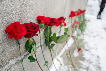 Memory of the dead. Red carnations on a gravestone