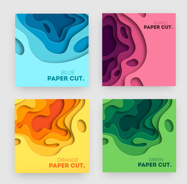 Set of square banner templates with paper cut shapes. White modern abstract design for business presentations, flyers, posters. Vector Illustration.