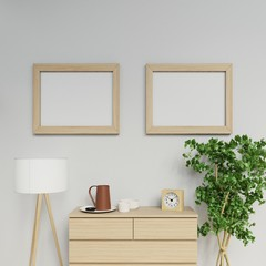 realistic illustration of nordic apartment interior with two a2 size empty poster mock up with light wood frame hanging horizontally on the clean grey wall in family area in front view