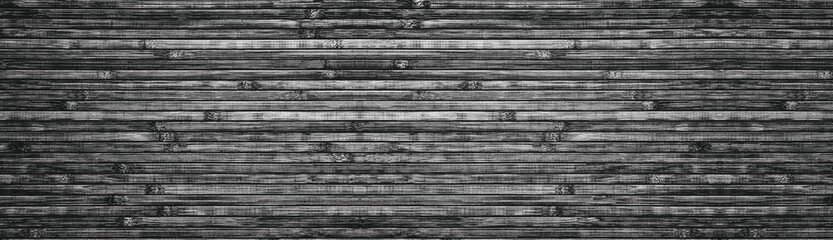 Wide black and white wooden background - bamboo panoramic texture