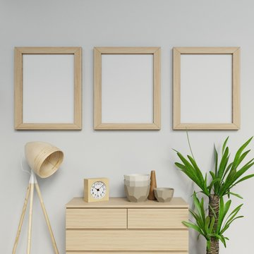3d illustration render of scandinavian house interior three a2 size poster ready to use mock up with wooden frame hanging vertical on the gray wall in living area in front view