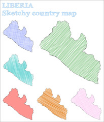 Liberia sketchy country. Pleasant hand drawn country. Pleasing childish style Liberia vector illustration.