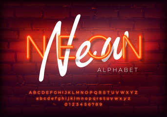 Red neon set glowing alphabet with numbers. Isolated luminescent font on brick wall background. Vector illustration