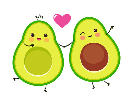 Cute avocado couple. Cartoon Valentines day greeting card. Vector funny picture.