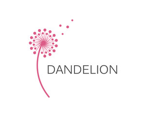 Illustration of concept dandelion. Vector logo