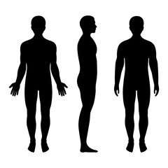 male silhouette front and side view on white background