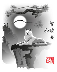 White wolf on a cliff.