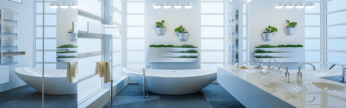 Contemporary Bathroom Adaptation - Panoramic View