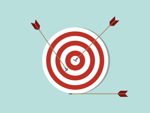 dart goals target business concept icon with arrow spread on target and off target with flat style - vector