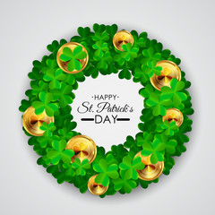 Happy Saint Patricks Day, 17 March Background with Clover Leaves. Vector Illustration
