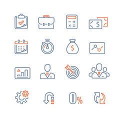 Finance icon set, business loan, company revenue report, analytics infographic, market growth, annual payment, corporate expense