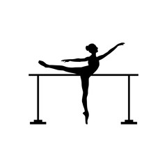 Barre silhouette, Silhouette of female ballet dancer isolated on a white
