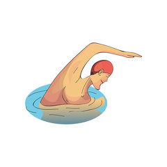 Man swimming in pool. Professional swimmer. Male in rubber swim cap. Sports theme. Cartoon vector design