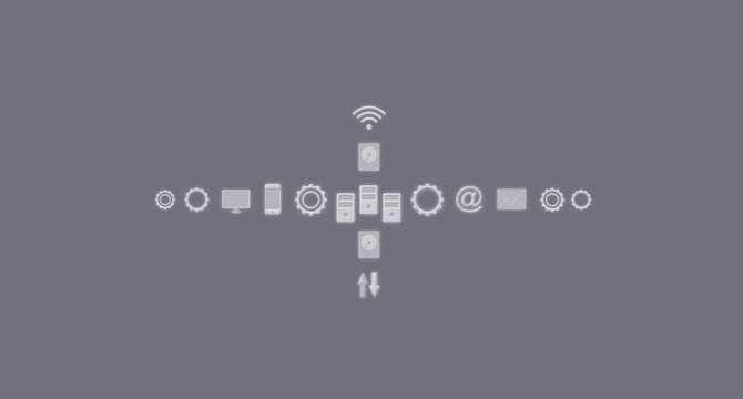 Services and Icons, Internet of Things, Networks, Communication. Business Concept