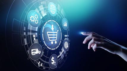 Obraz E-Commerce, Online chopping Internet business concept on virtual screen. - fototapety do salonu