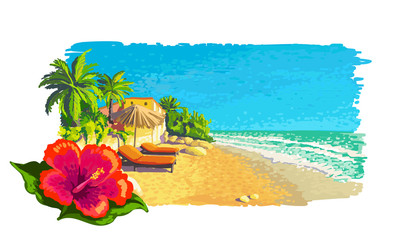 Quiet private sunny tropical beach landscape with palm trees, sunbeds, umbrella. Vector painting illustration.