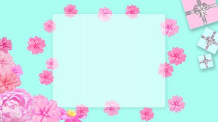 ギフトボックスと花の背景 (誕生日、バレンタインデー、母の日 、クリスマス)