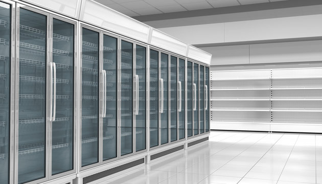 Refrigerated cabinets with glazed walls in the interior of the supermarket. 3d illustration