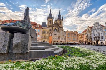 Prague Czech Republic, Sunrise city skyline at Prague old town square