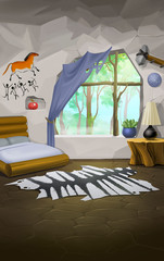 interior in the style of a stone age, cartoon background