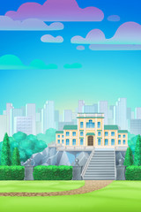 park with a palace, cartoon background