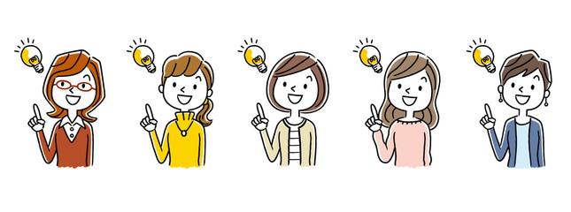複数の女性:アイデア、ひらめき