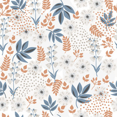 Flowers flat design, seamless pattern, floral background, hand drawn, abstract, vector