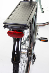 rear electric bike battery on white background