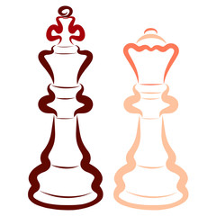 Dark king and light queen, chess pieces, love and competition