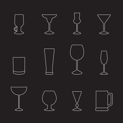 Types of glasses for different drinks, a set of outline icons. Vector illustration on black