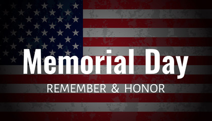 Memorial Day Background. USA Flag on dark background.