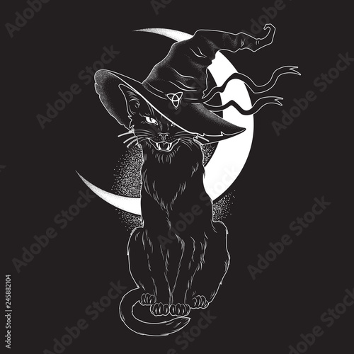 Black Cat With Pointy Witch Hat Line Art And Dot Work ...